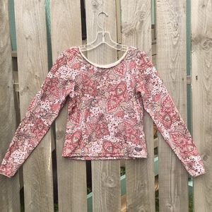 ATHLETA paisley long sleeve top M red brown coral